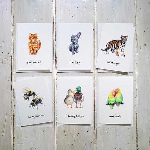 Animal Pun Love cards