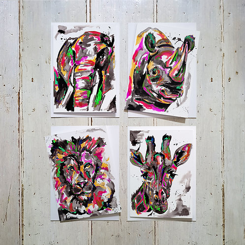 Animal Faces card 4 pack