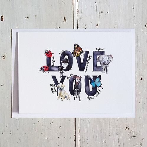 Love You Word card
