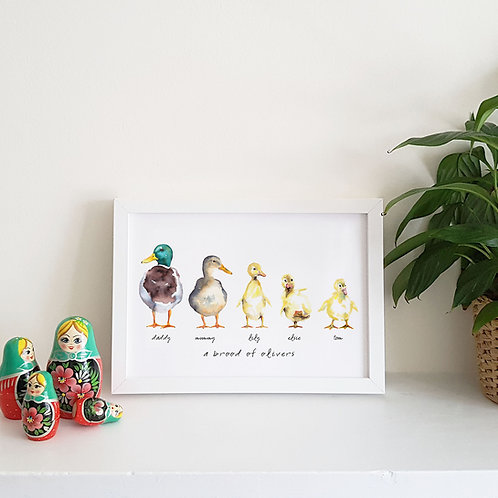A Brood of Ducks Family Print