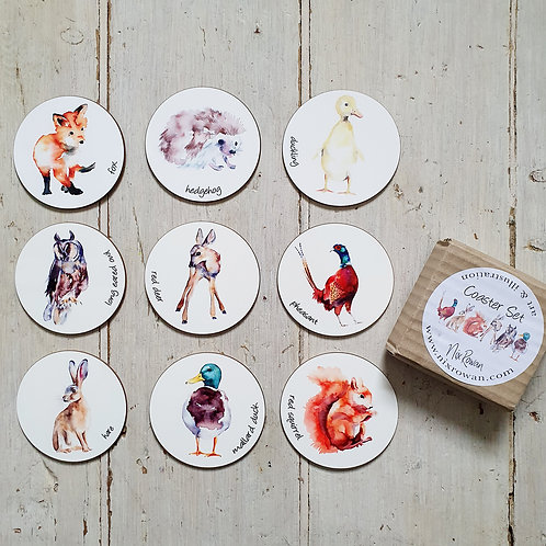 Watercolour Countryside Animal Coasters