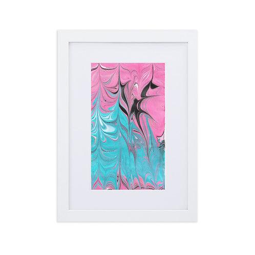 Turquoise into magenta-marbling artwork