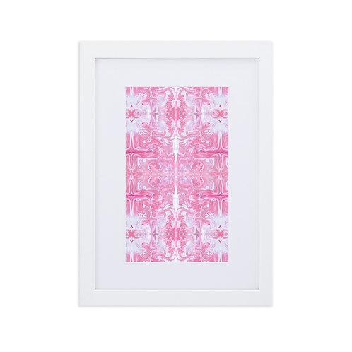 Pink on white marbling