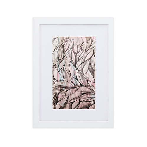 Charcoal leaves with marbling patterns