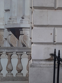 Facade with fake balustrade-work in progress at Somerset House