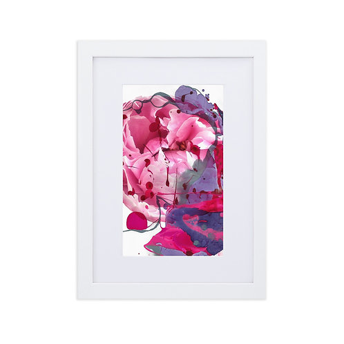 Pink peony with abstract marbling IV