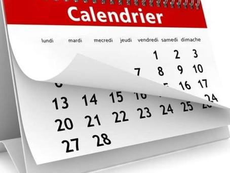 Le calendrier 2019 est en ligne