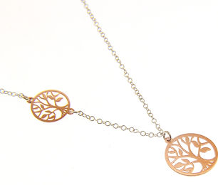 silver and rose gold - tree of life sign