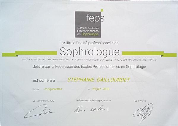 Diplômes |FEPS Gaillourdet Stéphanie sophrologue