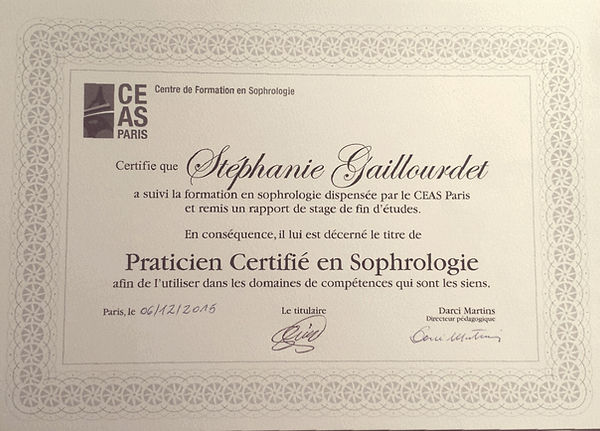 Diplômes |CEAS Gaillourdet Stéphanie sophrologue