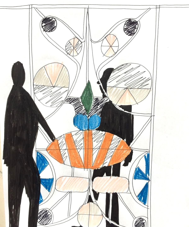 Milan installation, Sketch by Jaime Hayon - credit to Jaime Hayon Studio