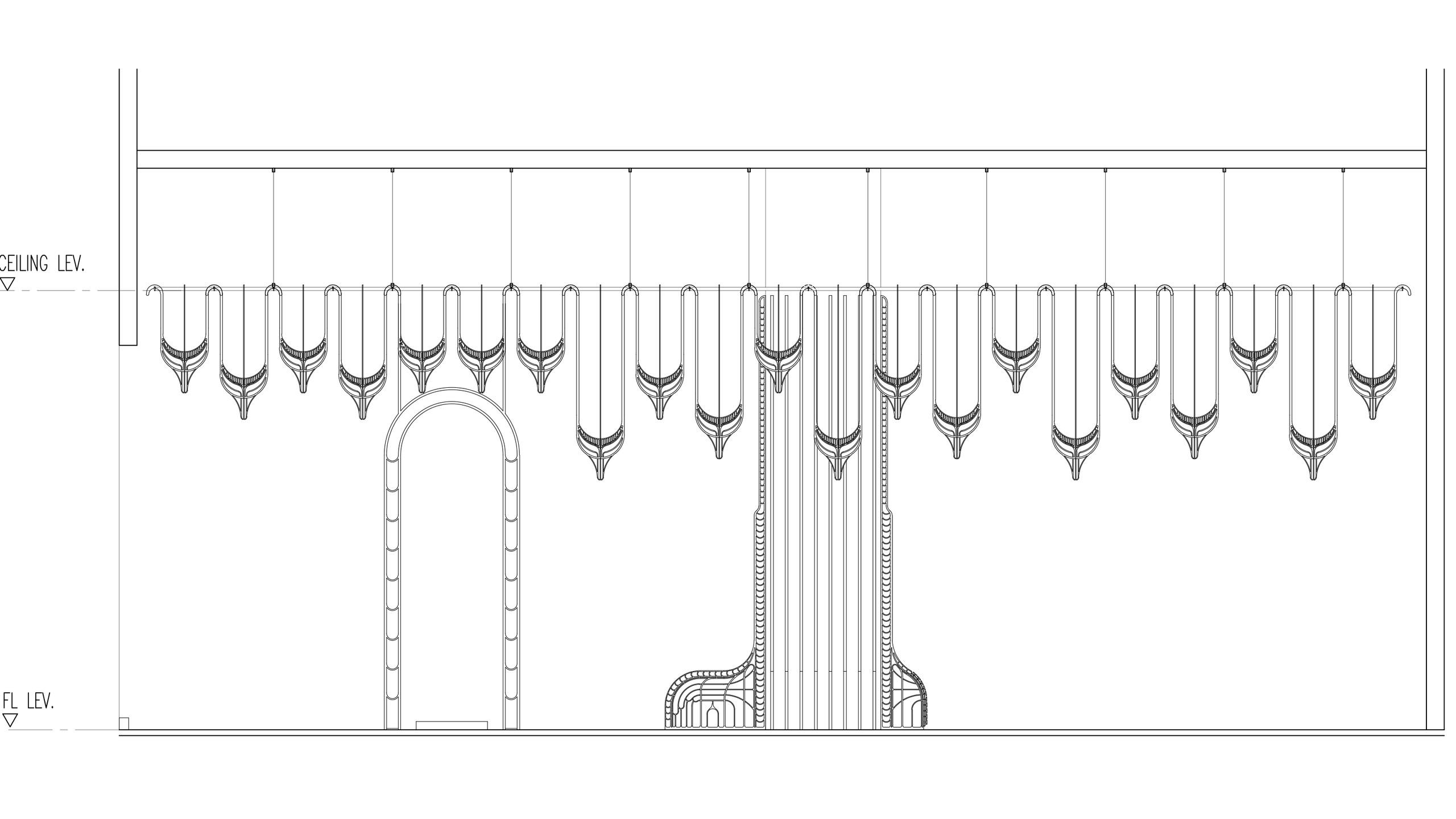 Eden front sectional elevation