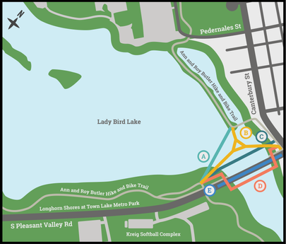 Longhorn Dam Bridge Options Map