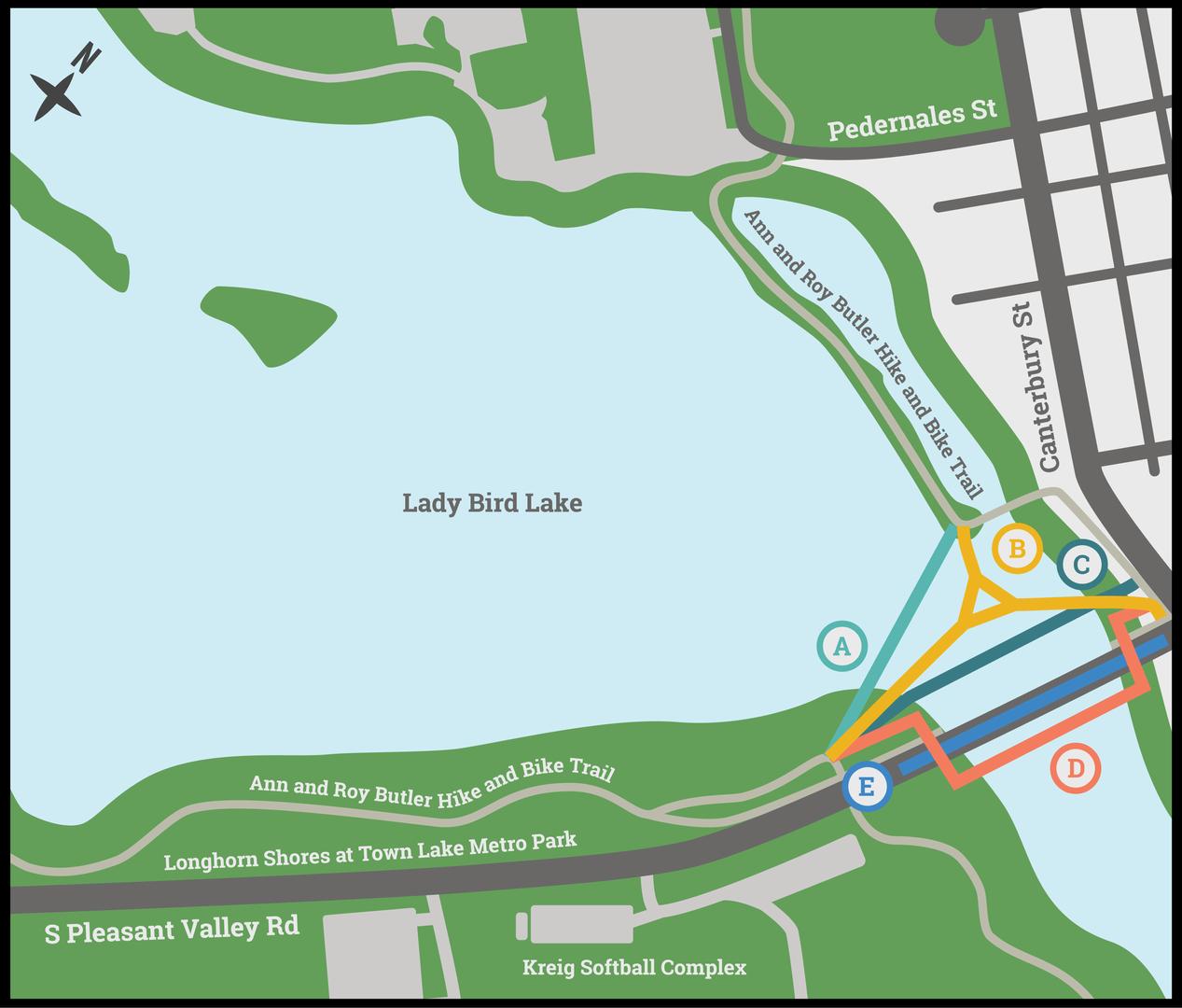 Longhorn Dam Bridge Options Map