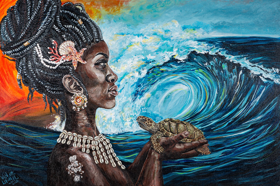 Bodies of Water Yemanja Painting ocean goddess waves turtle acrylic