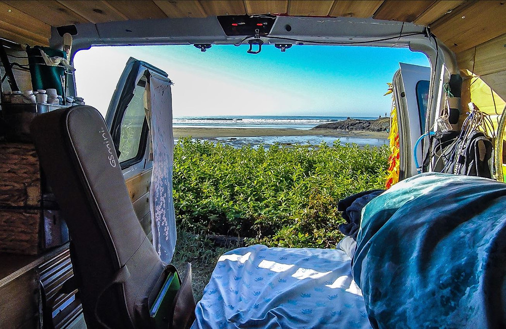 Vanlife views of the beach at Tofino, BC