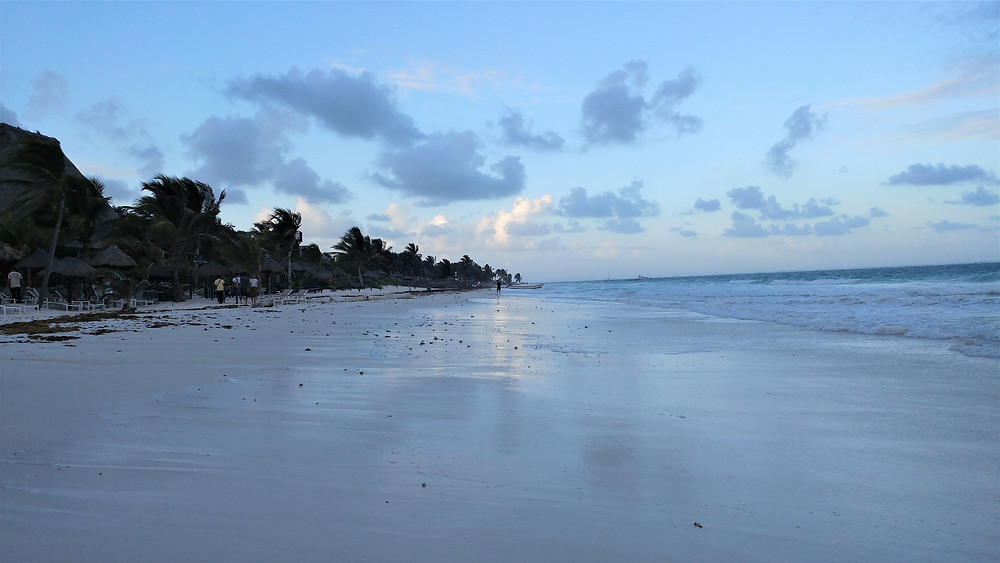 Sunset at a beach in Tulum, Mexico