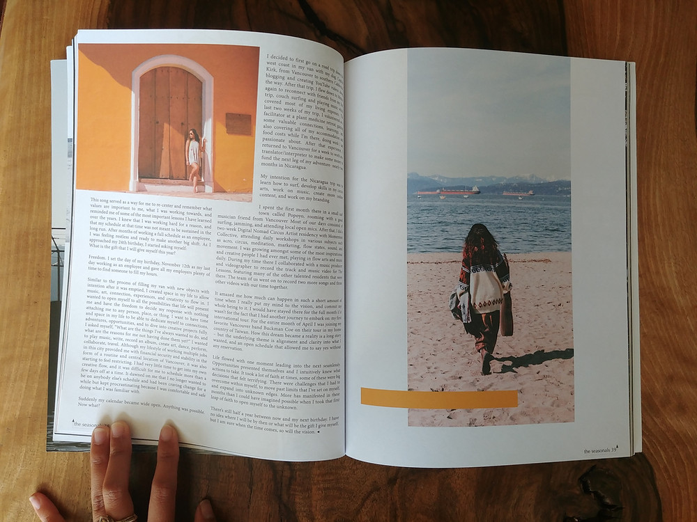 My first time being published! Here's a shot of a page in The Seasonals Quarterly Magazine