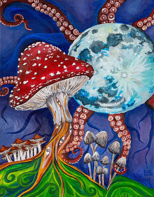Van Lefan- Once in a Blue Moon 2019 acrylic on canvas mushroom painting