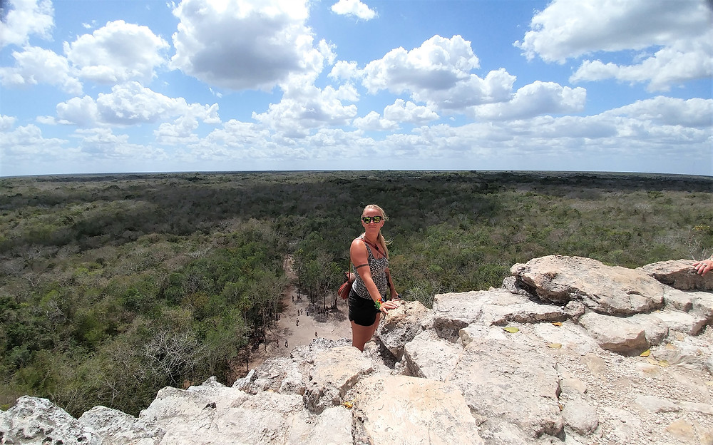 View from top of a Mayan ruin at Coba, in Tulum, Mexico