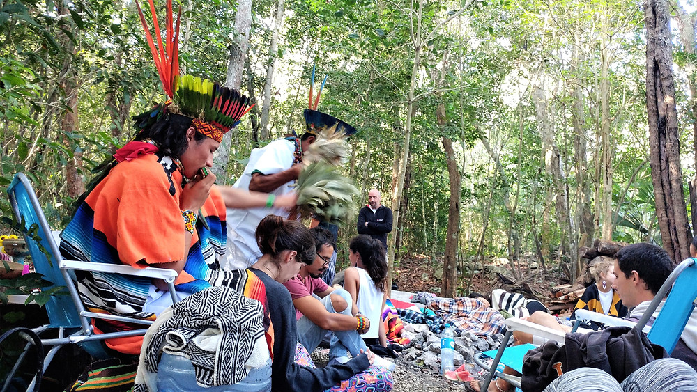 Shamans giving healing sessions morning after ayahuasca ceremony