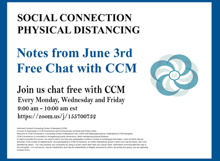 Mindfulness in the Mayhem | Notes From 6/3/2020 Free Chat with CCM