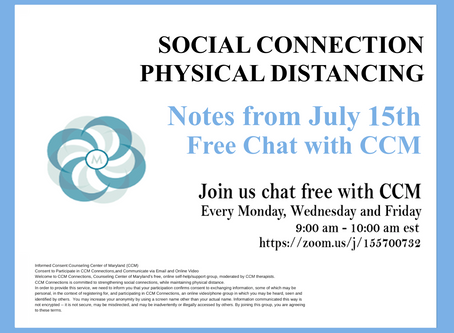 Letting Emotions Unfold |Notes from 7/15/20 Free Chat with CCM