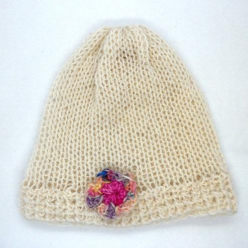 Flower Detail Beanie Hat by Jenny Knoll Yarns