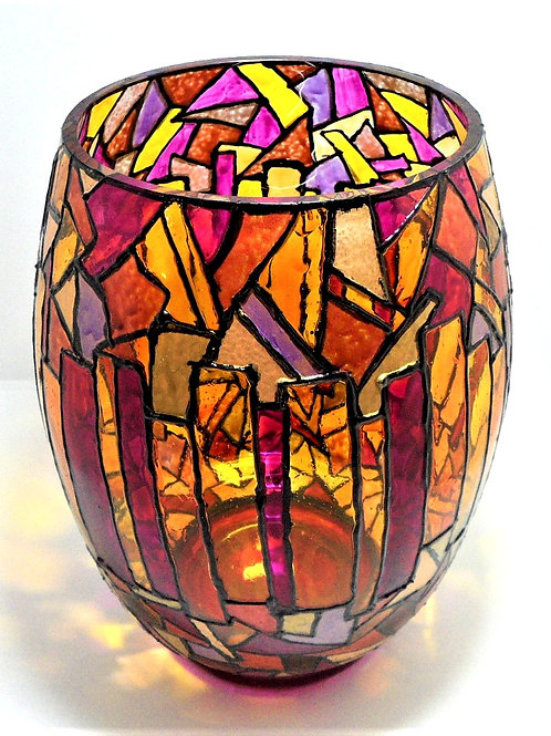 Large Hand Painted Glass Vase by Val Fisher