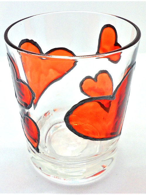 Painted Hearts Glassware by Val Fisher