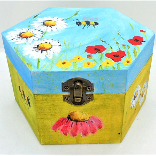 Hexagonal Painted Box by Inspirational Art