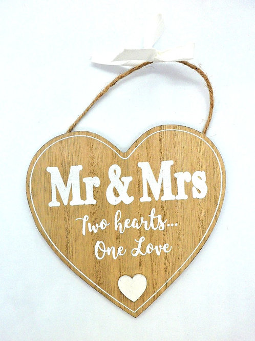 Wooden Mr & Mrs Heart Plaque from Teme Trinkets