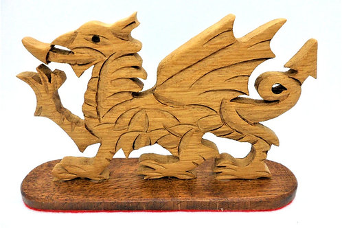 Wooden Welsh Dragon on stand by Terry Davies