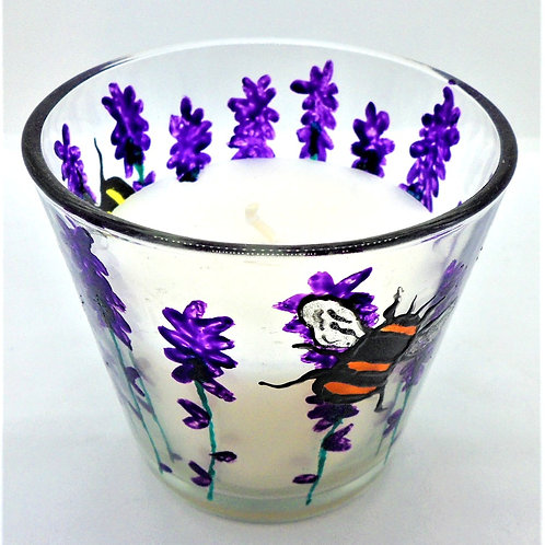 Decorated Glass Candle Holders by Val Fisher