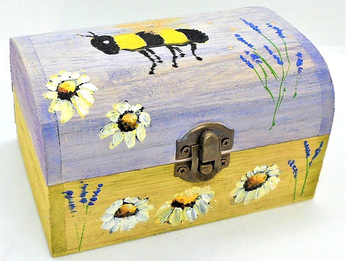 Bee & Daisies Painted Box by Inspirational Art