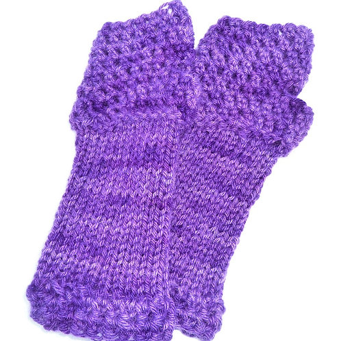Mohair and Lambswool Fingerless Gloves by Jenny Knoll Yarns