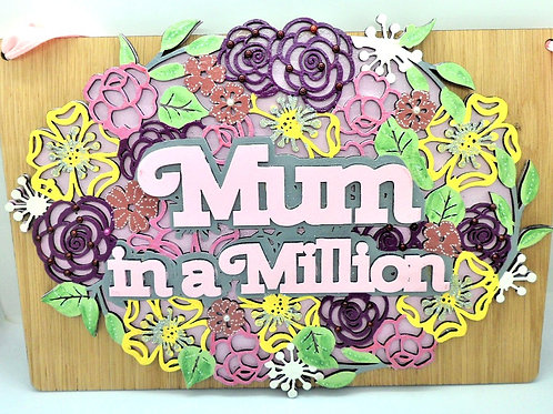 Mum in a Million Plaque by Create, Love & Admire