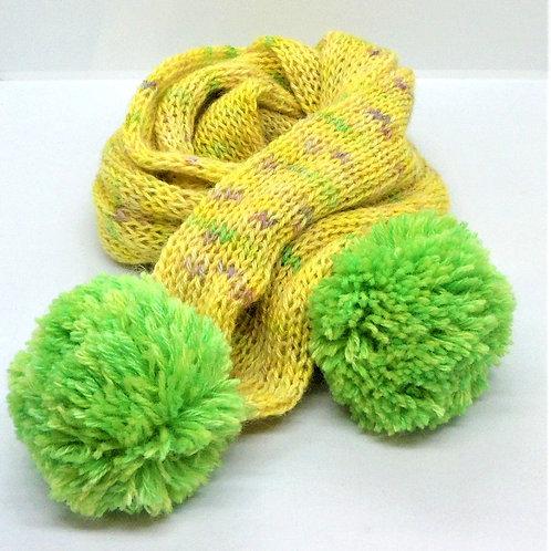 Hand Knitted Pom Pom Scarf by Jenny Knoll Yarns