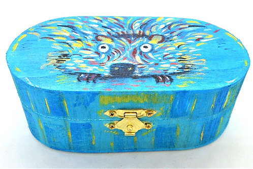 Oval Box with Hedgehog Design by Mutts and Stuff