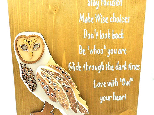 Self-Standing Wise Owl Plaque by Create, Love & Admire