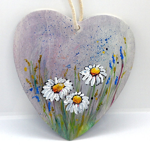 Hand Painted Flower Hearts by Inspirational Art