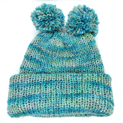 Woollen Hat with Double Bobble by Jenny Knoll Yarns