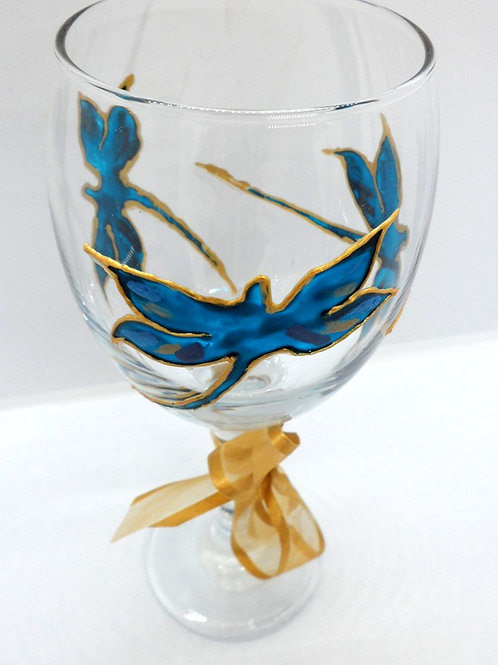 Hand painted wine glasses with dragon fly design by Val Fisher