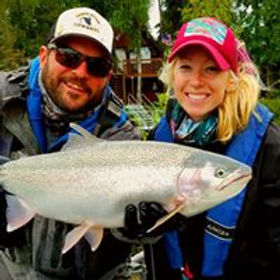 Girls Fly fishing Kenai River Rainbows with guide and Erin