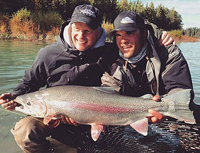 Fly fishing for giant Kenai River Rainbows kenai river cowboys