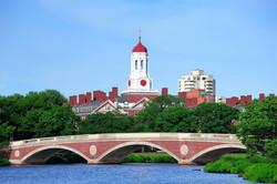 John W. Weeks Bridge and clock tower over Charles River in Harvard University campus in Boston