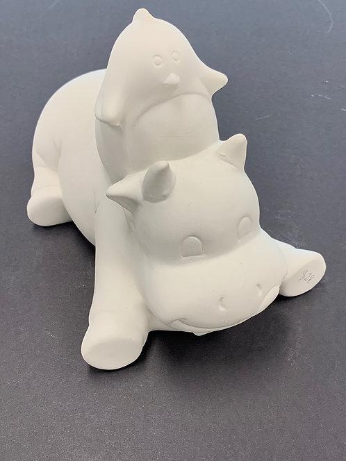 At-Home Penquin & Hippo Bank Ceramic Kit