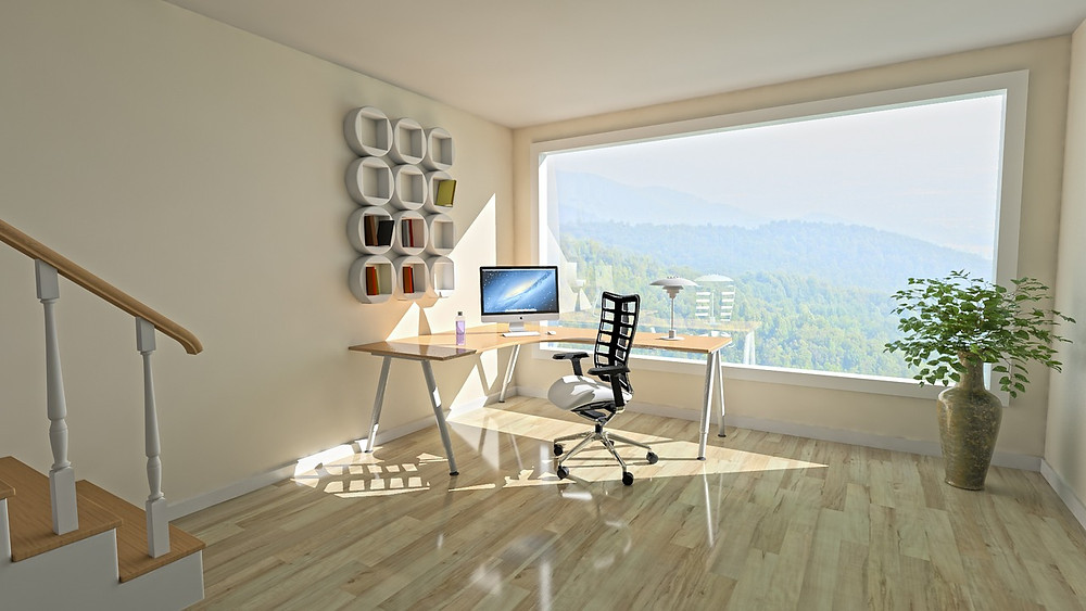 Picture window in home office corner