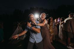 Wedding guests dancing outside