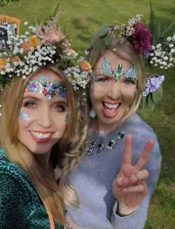 Floral crowns and glitter at hen do
